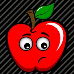 apple, emoji, emoticon, modest, sad, sorrowful, upset icon