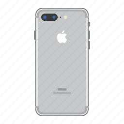 apple, iphone, mobile, phone, plus, silver, smartphone icon