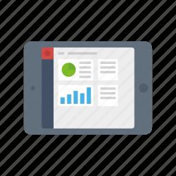 chart, crm, dashboard, ipad, landscape, pie, praph icon
