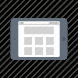 browser, ipad, landscape, market, shop, shopping, web icon