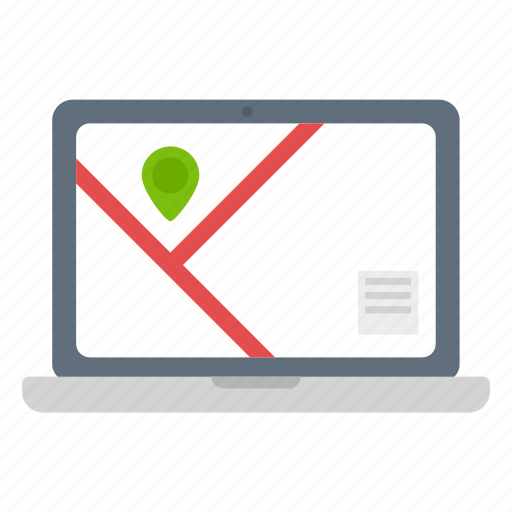 gps, location, macbook, map, marker, navigation, notebook icon