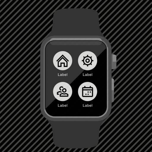 app, apple, menu, watch icon