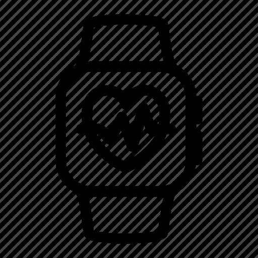 apple, bit, digital, heart, iwatch, statistic, watch icon