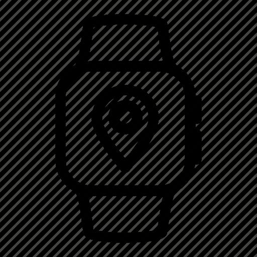 apple, digital, iwatch, location, map, navigation, watch icon