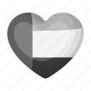 arab, country, emirates, flag, heart, national, shape icon