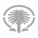 building, hotel, island, jumeirah, palm, service, tourism icon