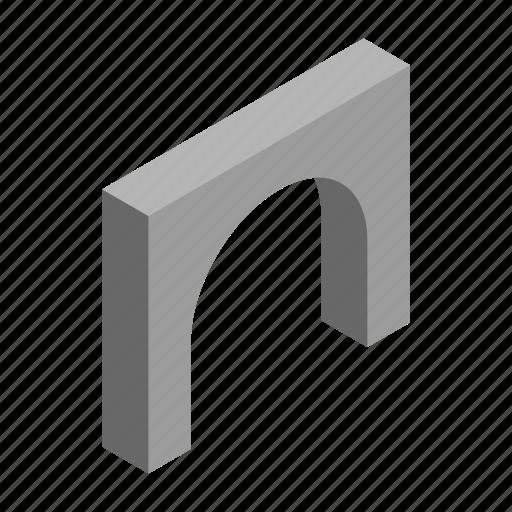 arch, concrete, gray, isometric, rock, stone, travel icon