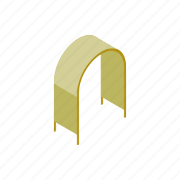 arch, architecture, entrance, isometric, light, plastic, structure icon