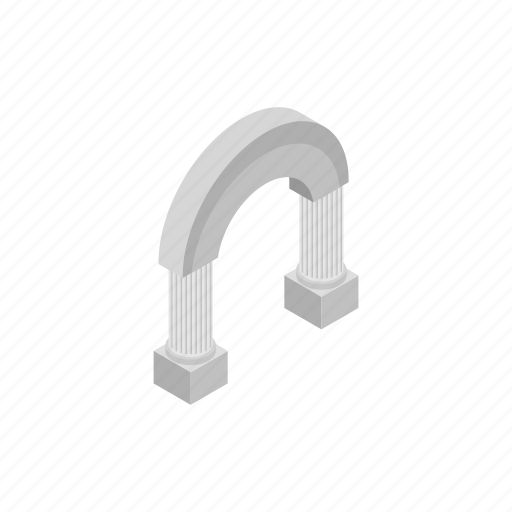 ancient, arch, architecture, column, isometric, stone, wall icon