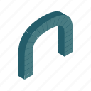 arch, frame, grey, isometric, modern, shape, tunnel icon