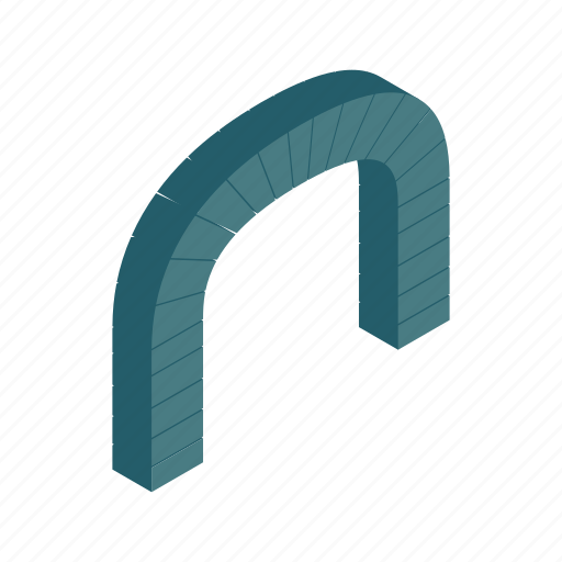 Arch, frame, grey, isometric, modern, shape, tunnel icon