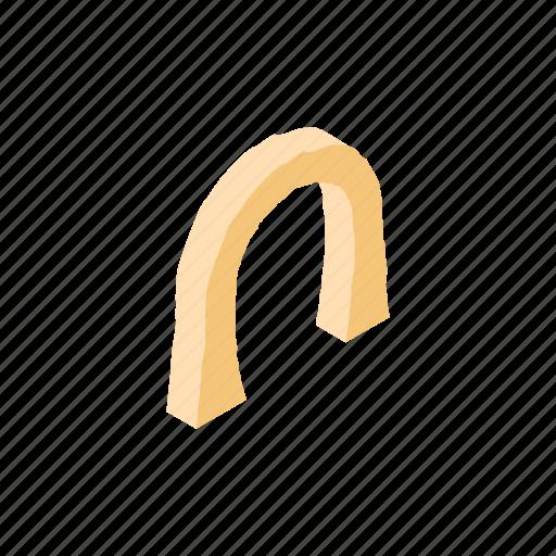 arch, isometric, mountain, rock, semicircular, stone, travel icon