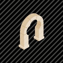 arch, architecture, clover, isometric, leaf, shape, trefoil icon