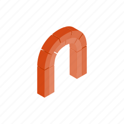 arch, brick, frame, isometric, modern, semicircular, shape icon