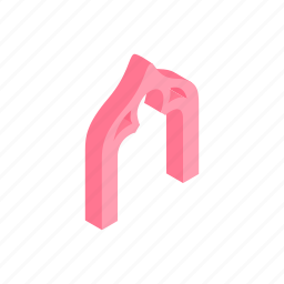 arch, clover, isometric, leaf, pink, shape, trefoil icon