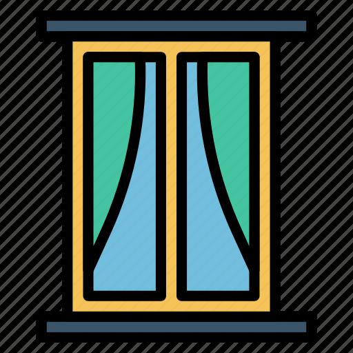 curtains, decoration, furniture, houshold, window icon