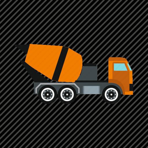 cabin, cement, construction, equipment, mixer, truck, wheel icon