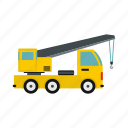 cabin, construction, crane, hook, industry, truck, wheel icon
