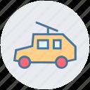 army van, car, gun, machine, military, tank, war icon