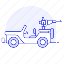 armed, army, jeep, light, military, off, road, transport, usa, utility, vehicle, war icon