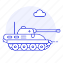 2, armoured, army, battlefield, combat, fire, military, power, tank, turret, vehicle, war icon