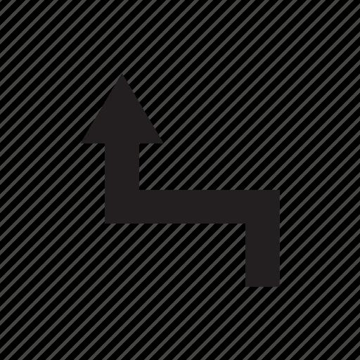 arrow, cursor, direction, pointer, up, way, zigzag icon