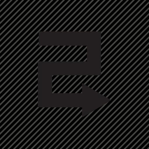 arrow, cursor, direction, pointer, right, way, zigzag icon