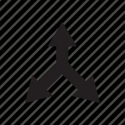 arrow, crossroads, cursor, direction, junction, three ways, way icon