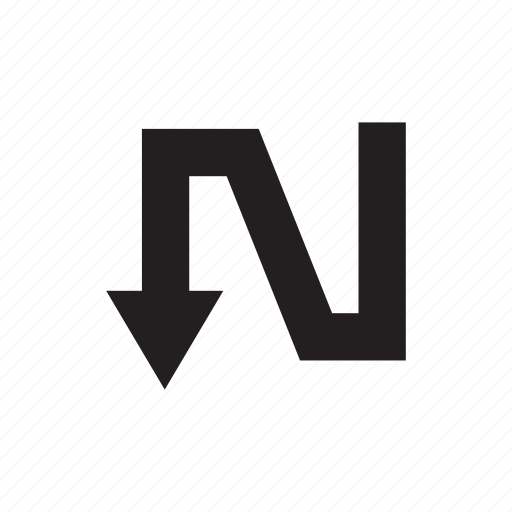 arrow, cursor, direction, pointer, way, zigzag icon