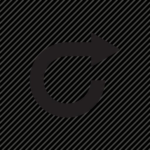 arrow, circle, cursor, curve, direction, pointer, way icon