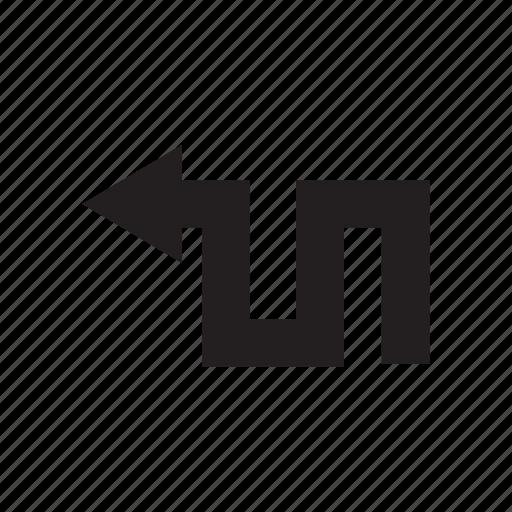 arrow, direction, left, way, zigzag icon