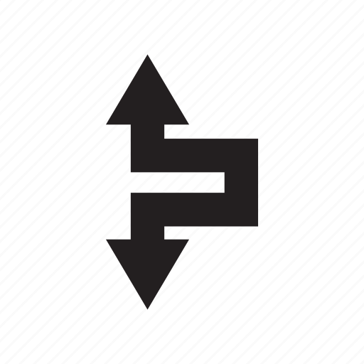 arrow, direction, down, up, way, zigzag icon