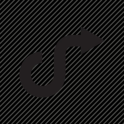 arrow, curve, direction, forward, next, right, way icon