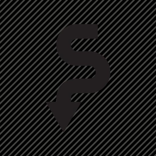 arrow, curve, direction, down, way icon