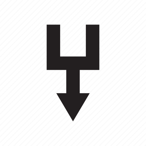 arrow, direction, down, junction, pointer, way icon