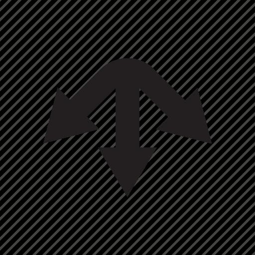 arrow, cursor, direction, junction, three ways, way icon