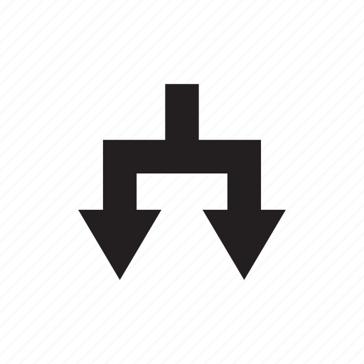 arrow, direction, junction, tow ways, way icon