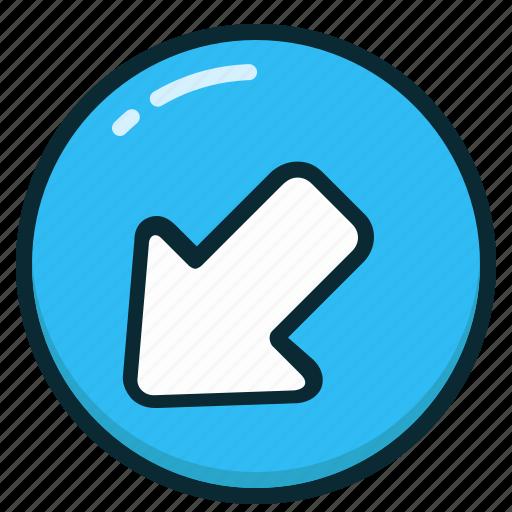 arrow, arrows, direction, left, lower icon