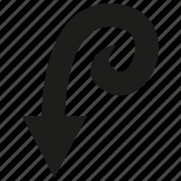arrow, cursor, diretion, down, sign icon