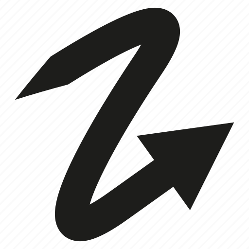 arrow, cursor, curve, diretion, sign icon