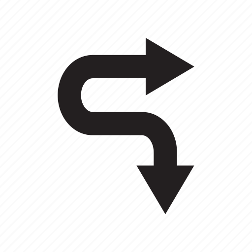 arrow, curve, direction, down, right, way icon