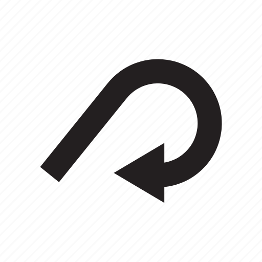 arrow, backward, curve, direction, pointer, way icon