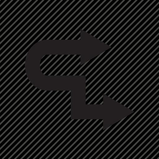 arrow, direction, right, zigzag icon