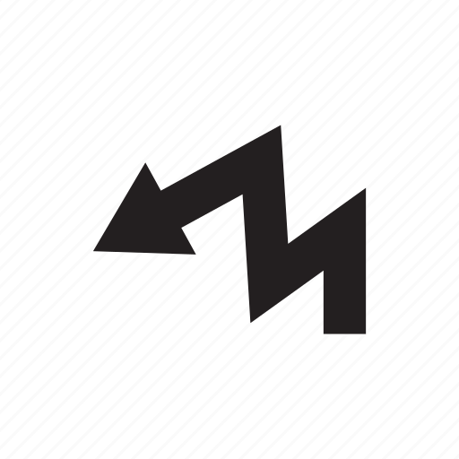 arrow, direction, way, zigzag icon