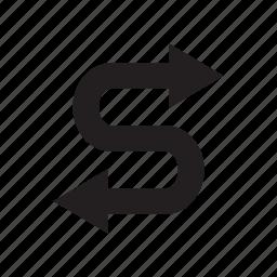 arrow, curve, direction, way, zigzag icon