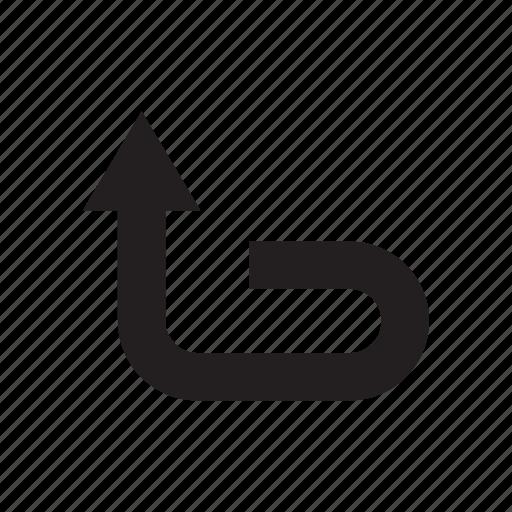 arrow, direction, loop, redo, up, way icon