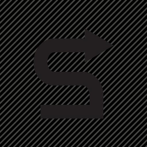 arrow, direction, right, way, zigzag icon