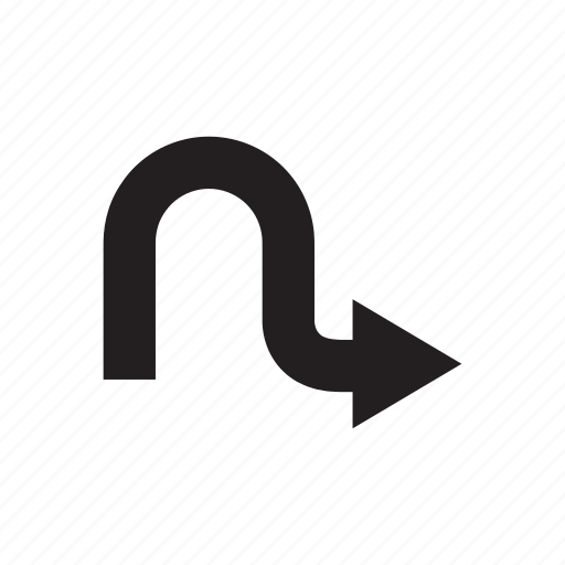 arrow, curve, direction, pointer, right, way icon
