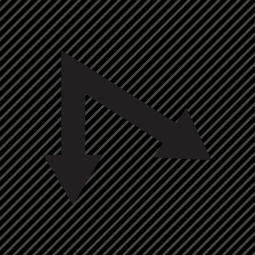 arrow, direction, pointer, two ways, way icon