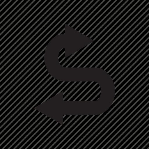 arrow, cursor, curve, direction, way icon